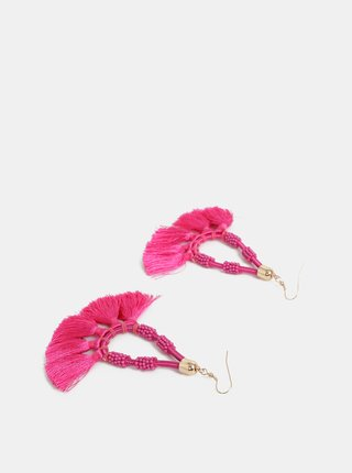 Ružové náušnice so strapcami Pieces Bemma