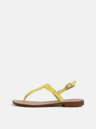 Žlté kožené sandále s korálkami Pieces Carmensia