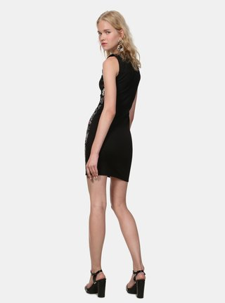 Černé vzorované pouzdrové šaty s madeirou Desigual Misha