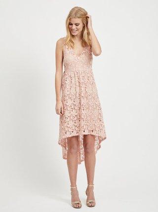 Svetloružové čipkované šaty VILA Kellie