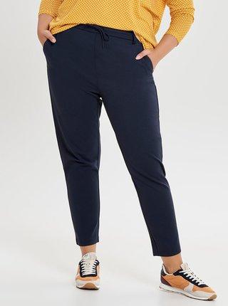 Tmavě modré zkrácené kalhoty s vysokým pasem ONLY CARMAKOMA Gold Trash