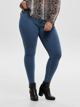 Modré skinny džíny s vysokým pasem ONLY CARMAKOMA Storm