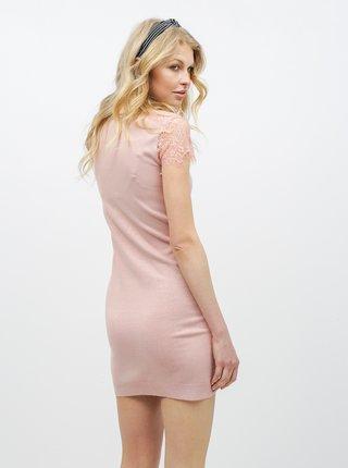 Ružové šaty s čipkovanými rukávmi VERO MODA Lassi
