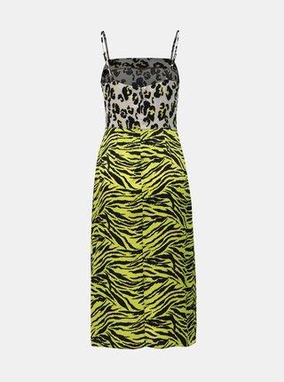 Žluté šaty s leopardím vzorem a rozparky Miss Selfridge