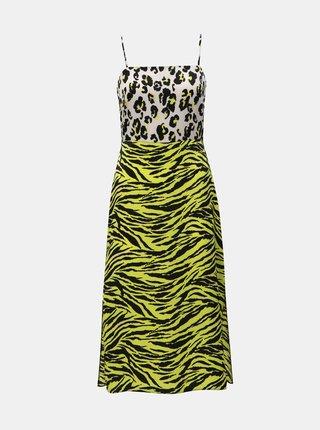 Žlté šaty s leopardím vzorom a rozparkami Miss Selfridge