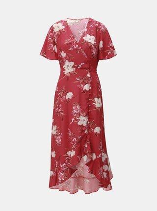 Červené květované zavinovací šaty Miss Selfridge