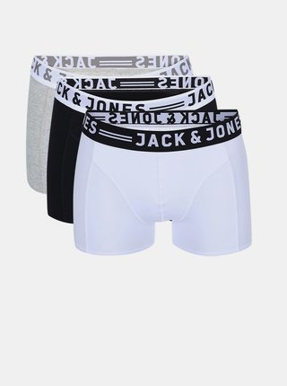 Súprava troch boxeriek v sivej, bielej a čiernej farbe Jack & Jones Sense