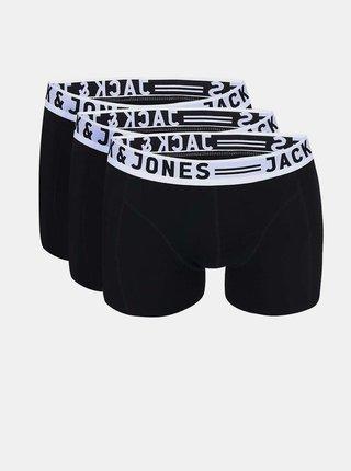 Sada tří černých boxerek Jack & Jones Sense