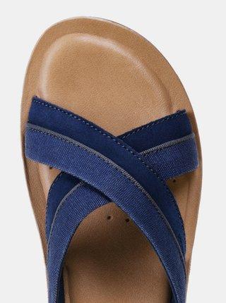 Modré pánské pantofle s koženou stélkou Geox Artie
