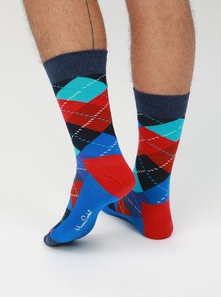 Červeno-modré vzorované ponožky Happy Socks Argyle