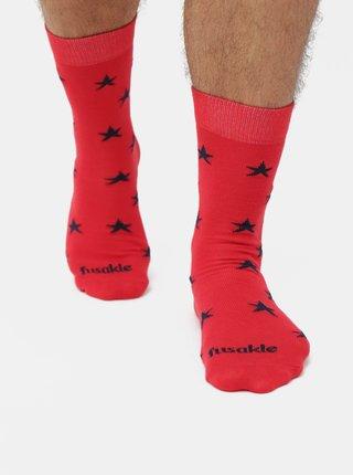 Červené vzorované ponožky Fusakle Hvězda