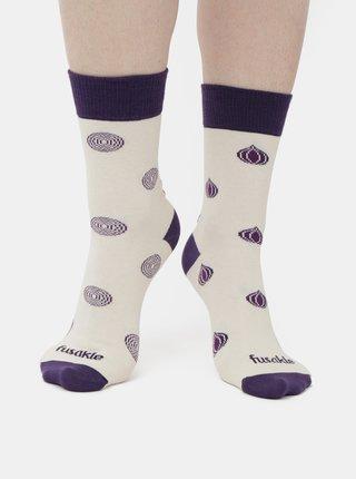 Fialovo-krémové vzorované ponožky Fusakle Cvibl