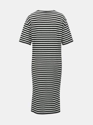 Bielo–čierne pruhované basic šaty s rozparkami Noisy May Mayden