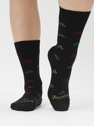 Černé vzorované ponožky Fusakle Cyklista