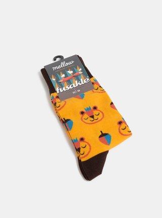 Žluté vzorované ponožky Fusakle Brum