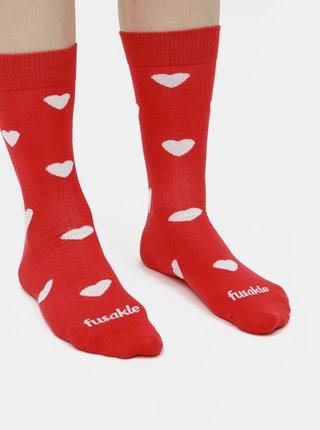 Červené vzorované ponožky Fusakle Láska