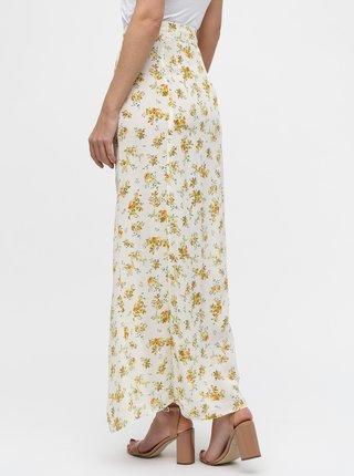 Krémová květovaná maxi sukně s rozparky Miss Selfridge