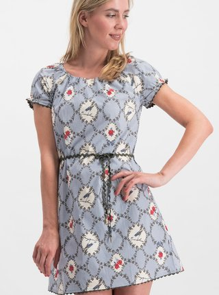 Modré vzorované šaty Blutsgeschwister Cowshed Romance