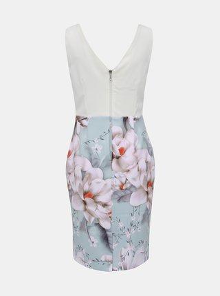 Bílo-modré květované pouzdrové šaty s volánem Dorothy Perkins
