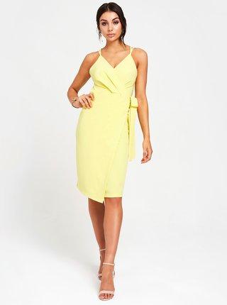 Světle žluté pouzdrové zavinovací šaty na ramínka Paper Dolls