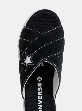 Čierne dámske semišové šľapky na platforme Converse