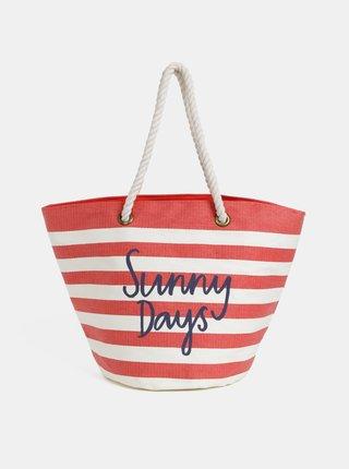Krémovo-červená dámska pruhovaná plážová taška Tom Joule