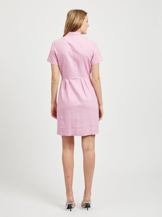 Růžové šaty s příměsí lnu VILA Semah