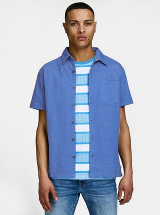 Moddrá melírovaná slim fit košeľa Jack & Jones Owen