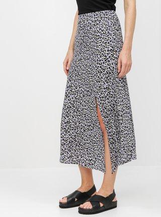 Fialová midi sukně s leopardím vzorem Miss Selfridge