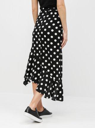 Čierna bodkovaná asymetrická sukňa Miss Selfridge
