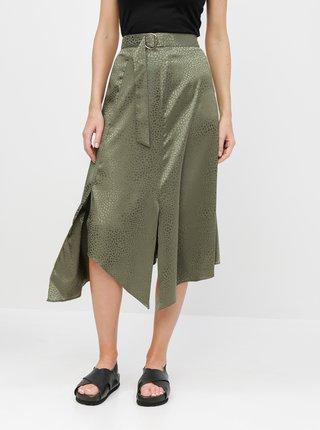 Zelená asymetrická vzorovaná midi sukně Miss Selfridge
