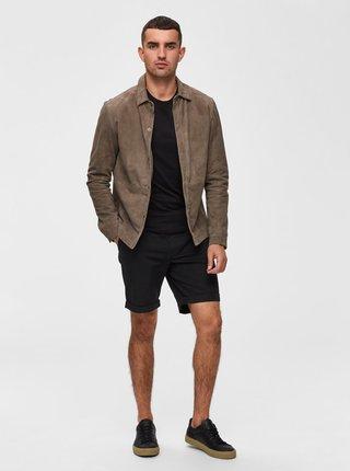 Černé straight fit kraťasy Selected Homme Paris