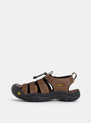 Tmavohnedé pánske kožené sandále Keen Newport