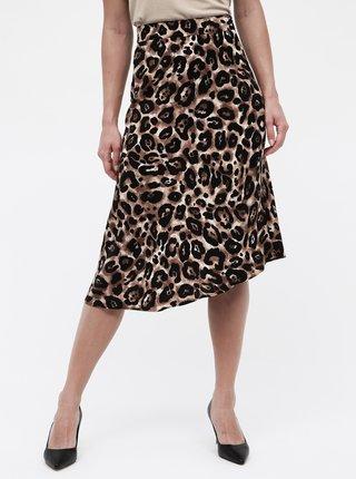 Čierno–hnedá asymetrická sukňa s gepardím vzorom Miss Selfridge