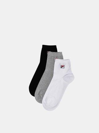 Sada tří párů kotníkových ponožek v bílé, černé a šedé barvě FILA
