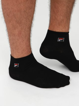 Sada troch párov pánskych čiernych kotníkových ponožiek FILA