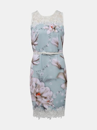 Mentolové kvetované šaty s opaskom Dorothy Perkins