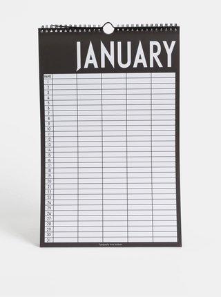 Černo-bílý plánovací kalendář se samolepkami Design Letters