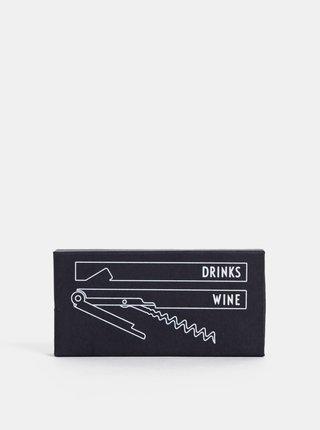 Černý set na otevíraní vína a piva Design Letters