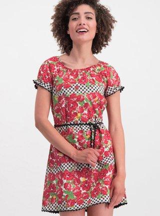Červené květované šaty Blutsgeschwister Cowshed Romance