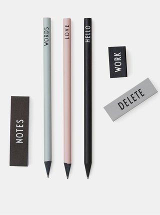 Sada troch ceruziek, dvoch gúm a malého zápisníku Design Letters