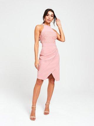 Růžové šaty s řasením na boku Paper Dolls