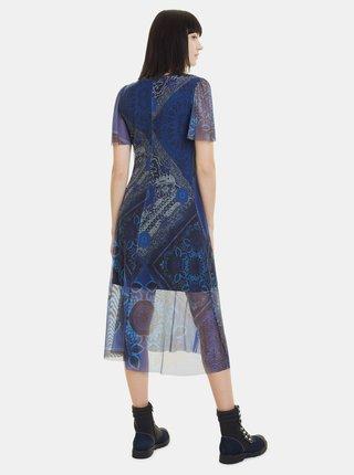 Modré vzorované šaty Desigual Terry