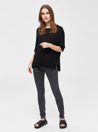Čierne svetrové tričko s rozparkami Selected Femme Wille