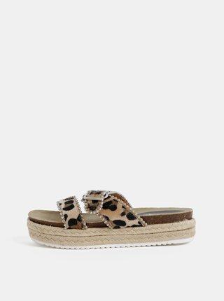 Béžové dámské pantofle s leopardím vzorem Haily´s Leo