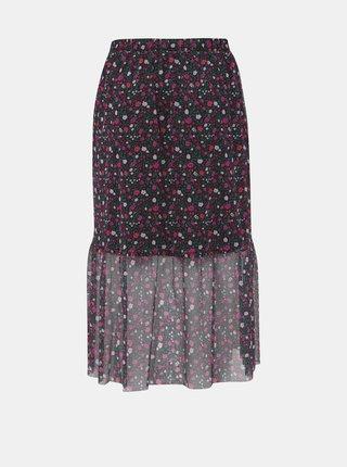 Ružovo-čierna kvetovaná midi sukňa Zizzi Laila