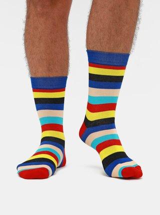 Sada tří párů pruhovaných ponožek v černé, modré a červené barvě Meatfly