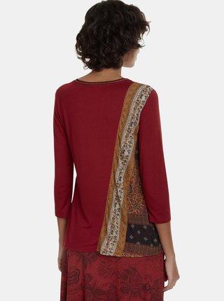 Červené tričko s potlačou Desigual Inge