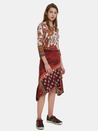 Červená vzorovaná sukně Desigual Indira