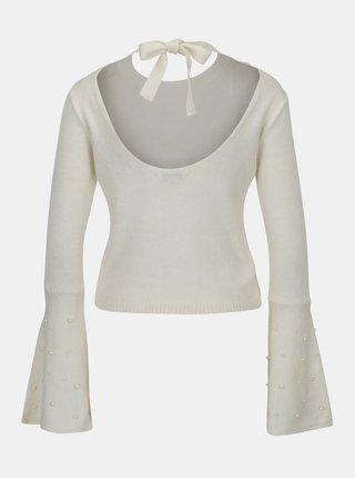 Krémový krátky sveter so zvonovými rukávmi a odhaleným chrbtom Miss Selfridge